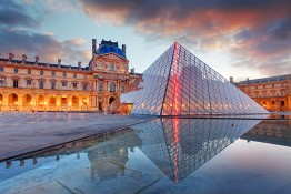 Paris France - February 9 2015: The Louvre Museum is one of the world's largest museums and a historic monument. A central landmark of Paris France.