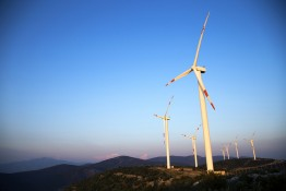 Wind Energy Turbines Are On The Mountain And Produce Cleanest El