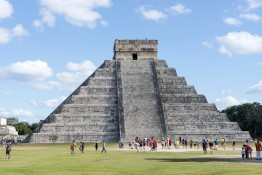 CHICHEN ITZA - JANUARY 19: Tourists visiting Chichen Itza, one o