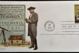 UNITED STATES OF AMERICA - CIRCA 1980: A stamp printed in usa dedicated to black heritage shows Benjamin Banneker circa 1980