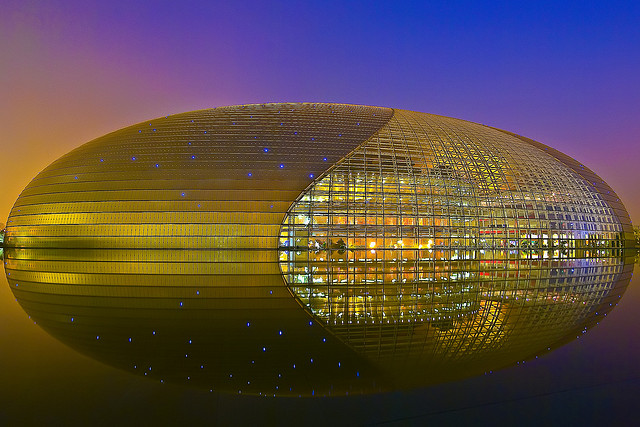 The National Center for Performing Arts is also known as The Giant Egg. It is an opera house that opened in 2007. Made of glass and titanium, it is completely surrounded by a lake.