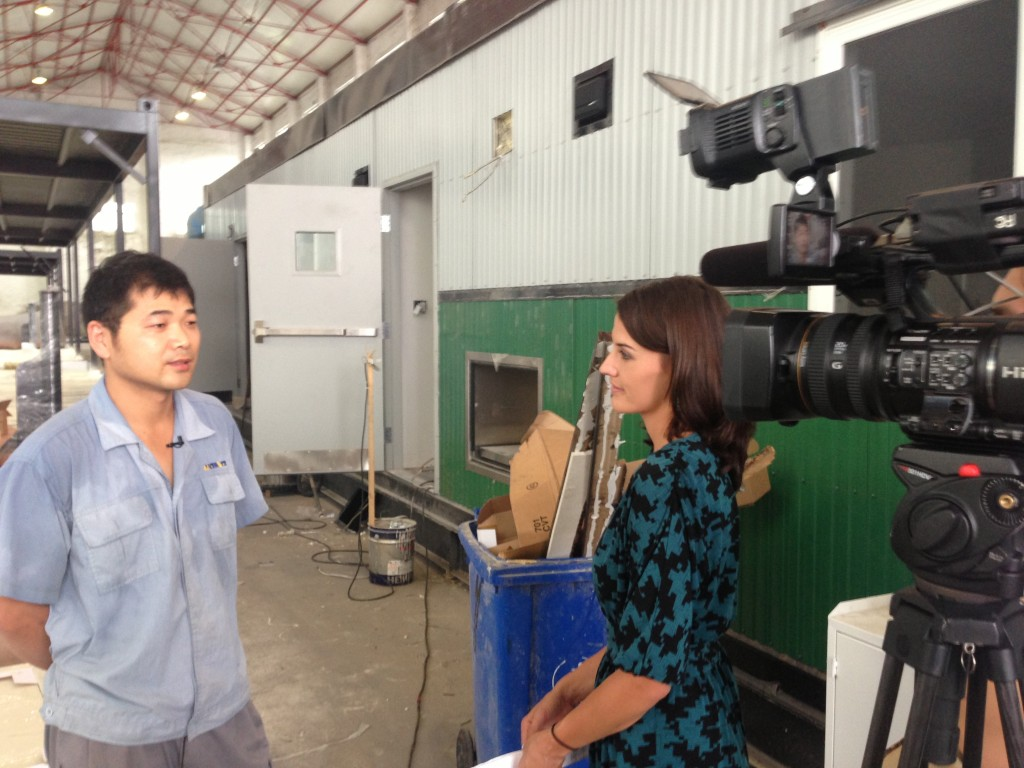 Shelby interviews Chinese workers at North American Company Dunn Global.