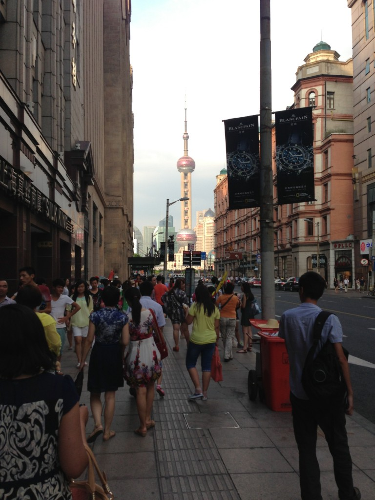 Walking down to the water front in Shanghai.