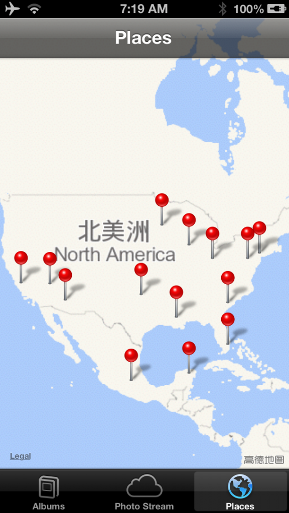 iphone map of North America from China.