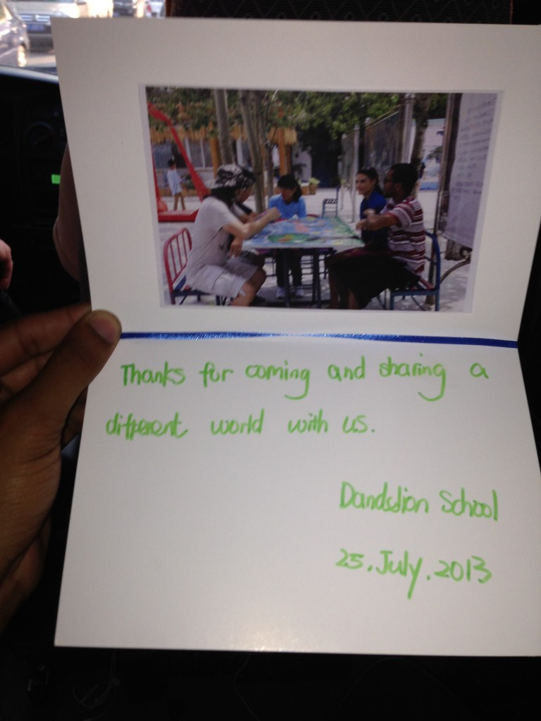 Nice thank you card from the Dandelion School.