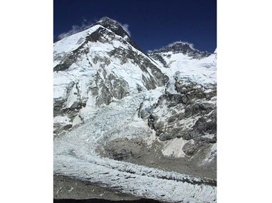 Mount Everest, left background, seen from above Everest Base camp, Nepal. Also seen is the Lhotse peak, right background, and the Khumbu icefall, center to bottom. Photo: Associated Press