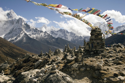 Prayer flag memorials at Chukpilhara, Nepal, commemorate those who perished climbing Mount Everest.