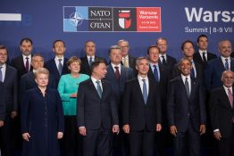 WARSAW POLAND - Jul 8 2016: NATO summit. Group photo of participants of NATO summit in Warsaw