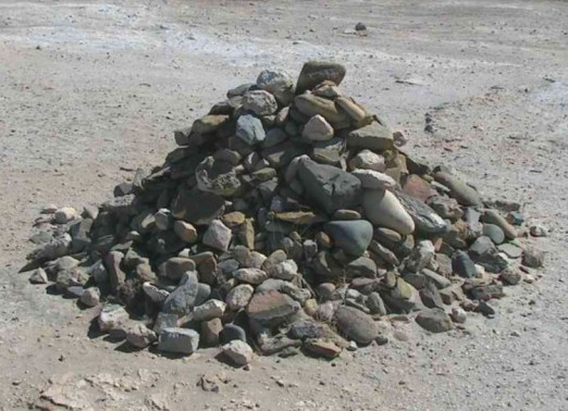Rock pile at Robben Island started by prisoner Nelson Mandela where he served 18 years. Photo Credit: D. Gordon E. Robertson