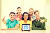 education, technology and college concept - five smiling student