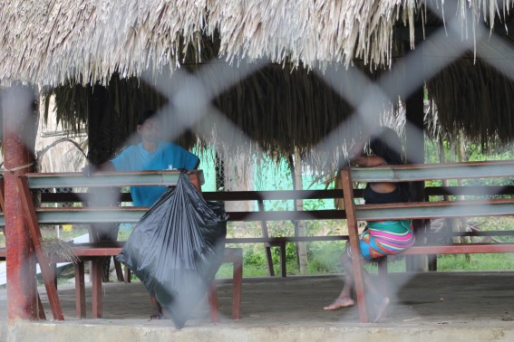 Community members take shelter from the heat. Every day in Panama, the temps were a steamy 90 degrees, with a LOT of humidity.
