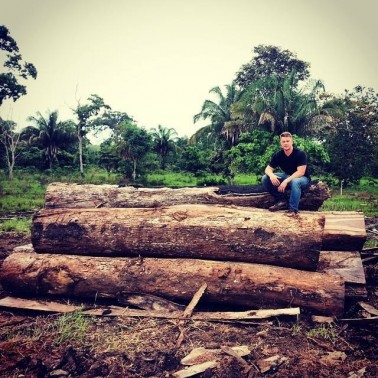 Sitting on top of tons of illegal Cocobolo at the Panama/Colombia border. It was poached from deep within the Darien Rainforest.