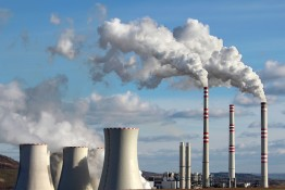 white smoke of emission from coal power plant