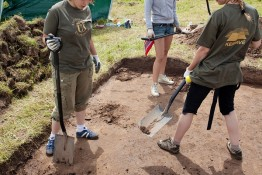 Kernave Lithuania - July 5 2009: Archaeologists are researching the diggings in archaeological site of the oldest lithuanian capital on 5 July 2009 in Kernave Lithuania.