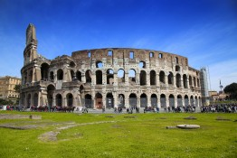 ROME ITALY - APRIL 08: Many tourists visiting The Colosseum in Rome Italy. Rome is the capital of Italy and region of Lazio. Italy on April 08 2015.