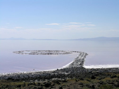 Spiral Jetty inner circles view of Spiral Jetty in 2005 Robert Smithson's masterpiece earthwork on the north side of the Great Salt Lake about two-and-a-half hours from Salt Lake City.