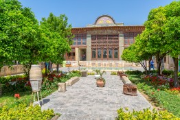 SHIRAZ, IRAN - MAY 2, 2015: Zinat ol Molk House inner garden it is a private house turned into a museum.