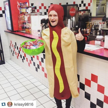 Handing out candy at the mall! #hotdog #halloween