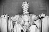 Abraham Lincoln statue at the Lincoln Memorial in Washington, America. Black and white photo.