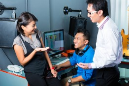 Asian people, musician, producer and mixer in sound studio