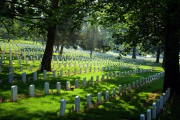"Arlington National Cemetery on Memorial Day 2006. ""Flags Out"" serene and peaceful view. Good color and view of lawn."