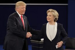 Republican presidential nominee Donald Trump and Democratic presidential nominee Hillary Clinton shake hands after the second presidential debate at Washington University in St. Louis, Sunday, Oct. 9, 2016. (AP Photo/Julio Cortez)